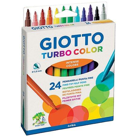 Caneta Hidrocor Giotto Turbo Color 24 Cores Intense Colors