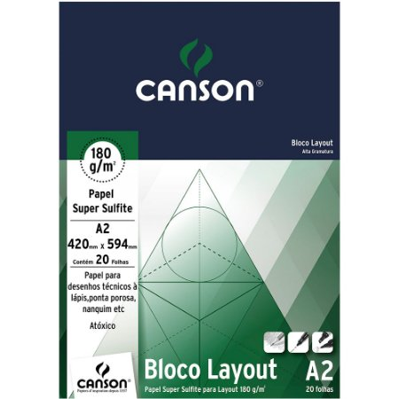 Bloco Layout Canson Papel Super Sulfite A2 180 g/m² 20Fls