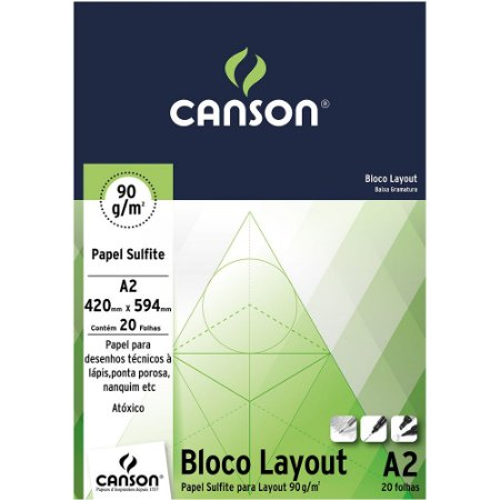 Bloco Layout Canson Papel Sulfite A2 90 g/m² 50 Folhas