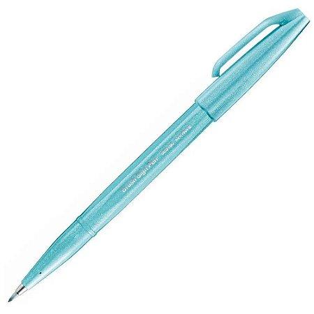 Caneta Pincel Pentel Brush Sign Pen Azul Pastel
