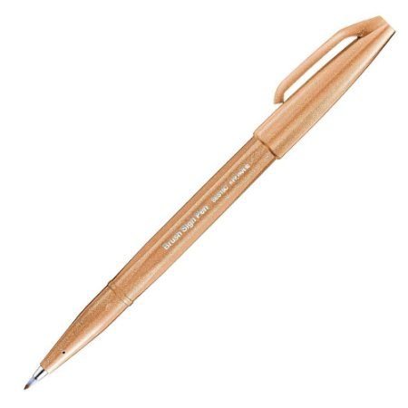 Caneta Pincel Pentel Brush Sign Pen Marrom Claro