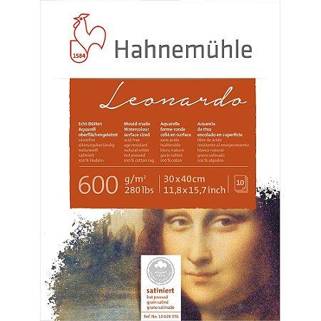 Bloco Aquarela Leonardo 600 g/m² Hot Pressed 30X40 Hahnemuhle