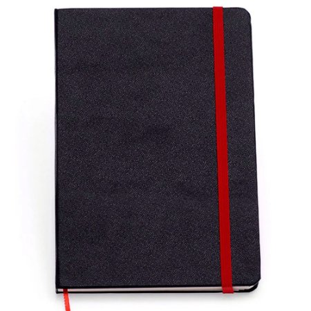 Caderneta Clássica Cicero Pautada Preto Vermelho 14x21