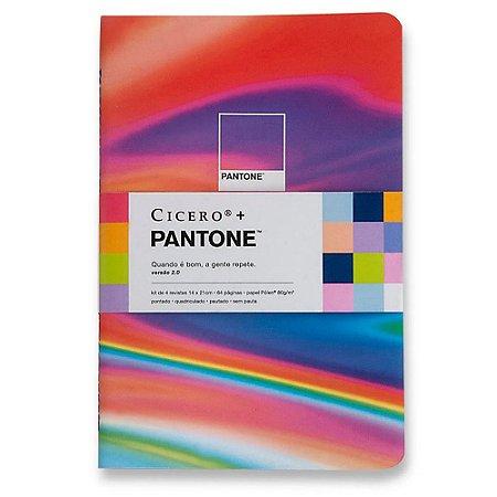 x4 Cadernetas Pantone Cicero Kit Notas Mix 14x21