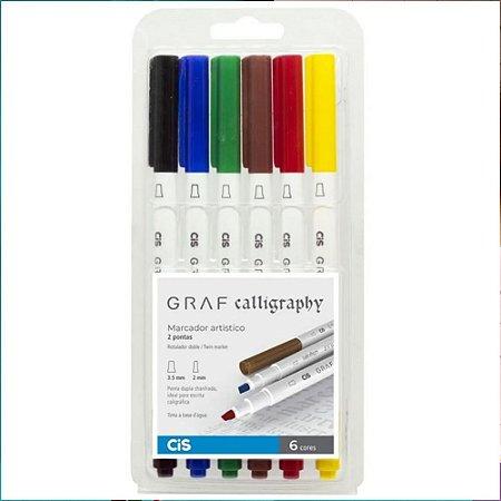 Estojo Marcador CIS Graf Calligraphy Duo c/6 Cores