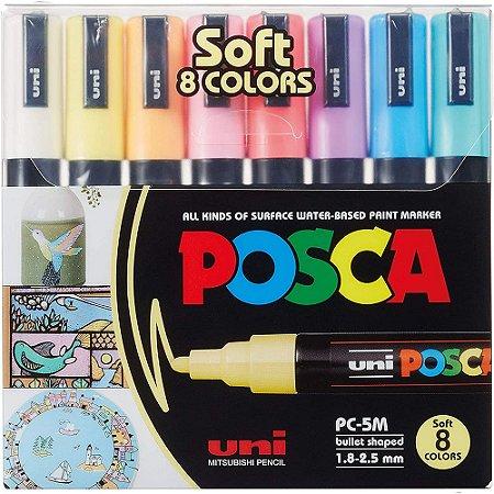 Caneta Marcador Posca Pc-5M Soft Color Est 8 Cores Estojo Uni-Ball