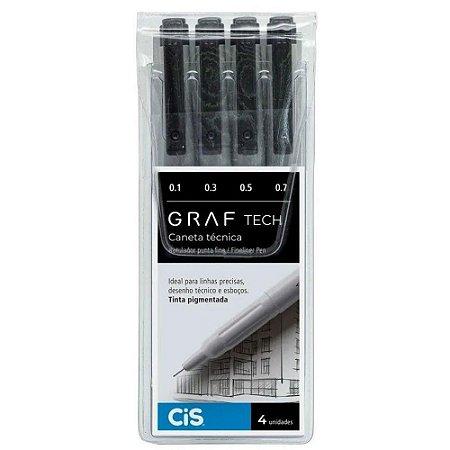 Caneta Técnica Cis Graf Tech Preta com 4 Unidades