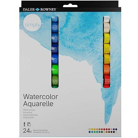 Tinta Aquarela Simply 12ml Estojo com 24 Cores Daler Rowney