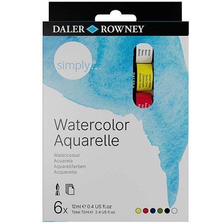 Tinta Aquarela Simply 12ml Estojo com 6 Cores Daler Rowney