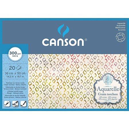 Bloco Papel Aquarelle 36X50cm Grano Grosso 20 Fls 300g/m² Canson