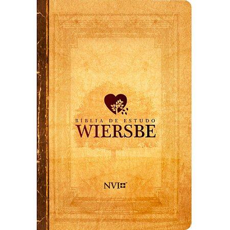 Bíblia De Estudo Wiersbe Nvi - Capa Semi Luxo Estampada Neutra
