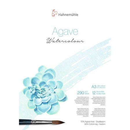Bloco Agave Watercolour Hahnemuhle A3 Textura Fina 290g/m² 12 Folhas