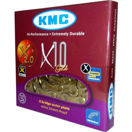 Corrente Kmc X10 Dourada Gold 116 Elos Bike Mtb Speed