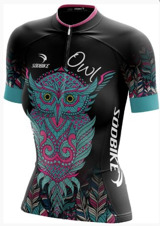 camisa ciclismo coruja preta baby look fem tam g curta ziper full