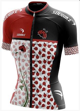 camisa ciclismo joaninha baby look fem tam g curta ziper full