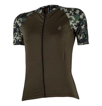 camisa ciclismo fem savancini militar