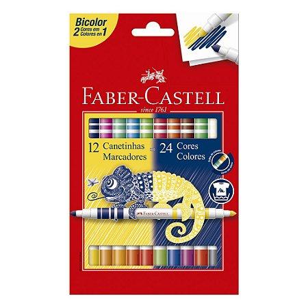 Canetinha Hidrográfica FABER-CASTELL Bicolor - 12 Unidades/24 Cores