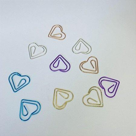 Clips Coração Metálico c/ 10 Unidades