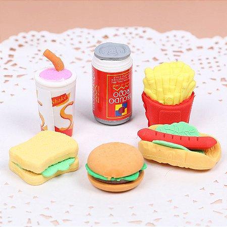 Kit de Borracha Escolar Fast Food - 6 Peças