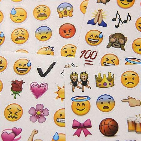 Adesivos de Emoji - 4 Cartelas