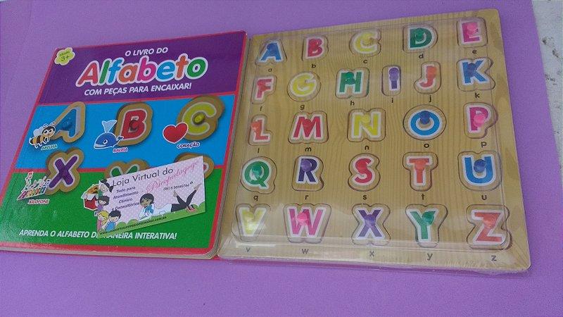 Livro do Alfabeto c/ letras com pinos e encaixe