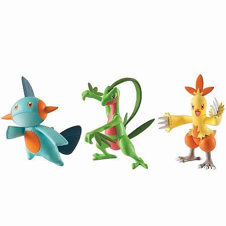 Boneco Pokémon - Kit Grovyle + Combusken + Marshtomp