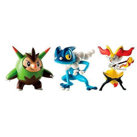 Boneco Pokémon - Kit Quilladin + Braixen + Frogadier - Tomy