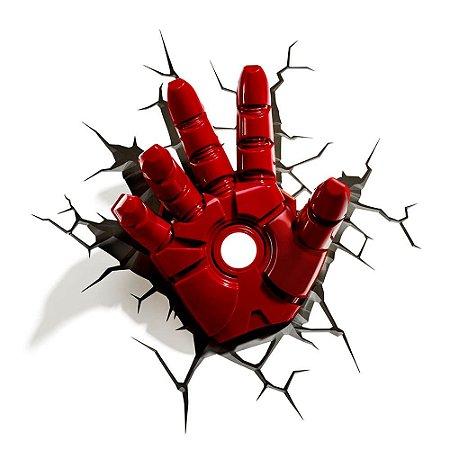Luminária Mão Homem de Ferro - Iron Man - Marvel - 3D Light Fx