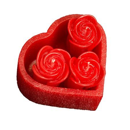 Jardim Coração com 3 Rosas
