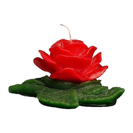 Rosa Aberta com Folha Verde Grande