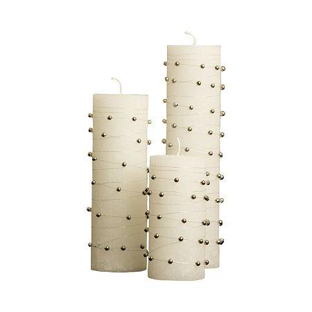 Trio de Velas Cilíndricas Base 8,5cm com Miçangas
