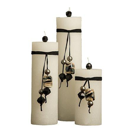 Trio de Velas Cilíndricas Base 8,5cm com Cordão