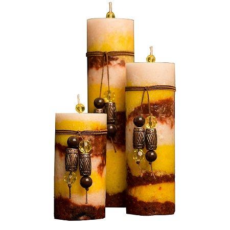 Trio de velas Cilíndricas Matizadas 6,5cm