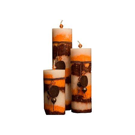 Trio de velas Cilíndricas Matizadas 8,5cm