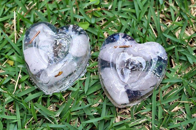Coração Orgonite com quartzo rosa - Par