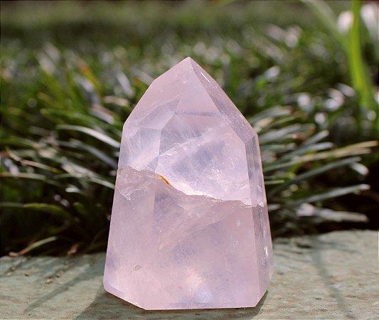 Ponta de Cristal Gerador de Quartzo Rosa 7 cm