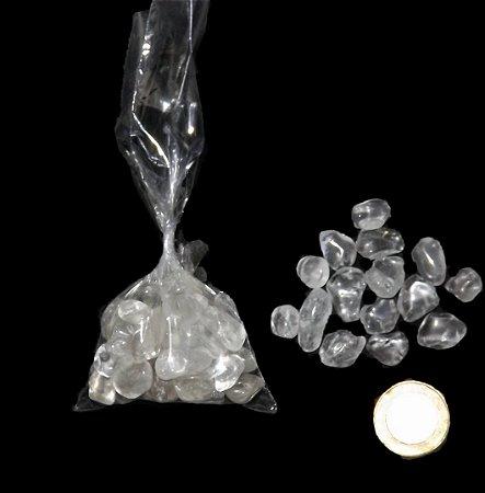 cristal de Quartzo Branco Rolado saco com 100 gramas