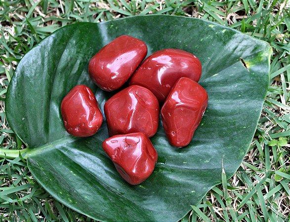Jaspe Vermelho Rolado Unitário Tamanho 3 a 4 cm - Signo de Touro