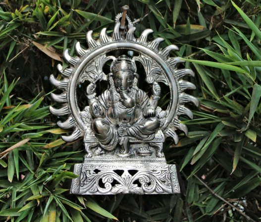Ganesha na roda de fogo de parede (importado ÍNDIA)