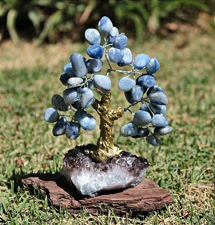 Árvore de Quartzo Azul com base de Ametista