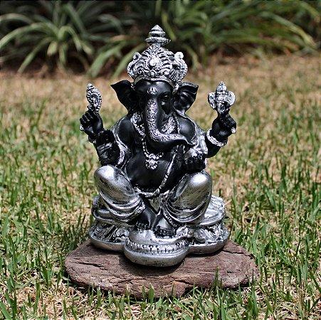 Ganesha Preto com Prata Grande (Produto Indiano )