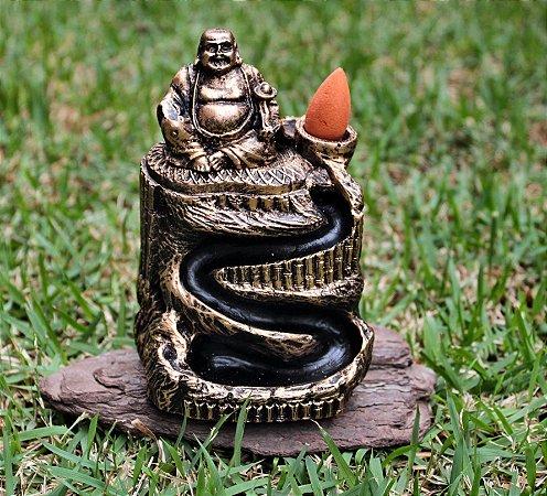 Incensário Cascata Buda da fortuna Dourado