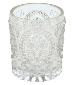 Castiçal de Vidro, com desenhos em relevo - 8 x 6,5 cm