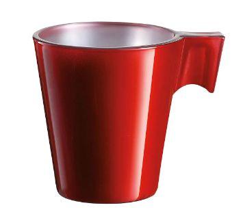 Xícara Vidro Temperado Vermelho 80Ml