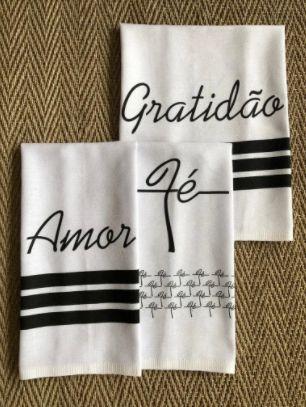 Pano de prato sacaria Premium  Gratidão, fé e Amor - Kit c/ 3 unidades