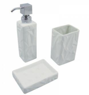 Kit Banheiro Emborrachado Branco-3 Peças