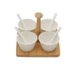 Conjunto 4 Molheiras Porcelana C/Colheres e Suporte de Bambu.