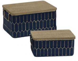 Conjunto de Caixas de Metal Azul com Tampa de madeira