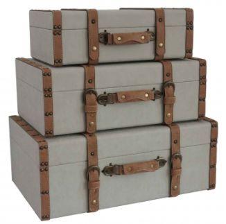 Conjunto de malas de Madeira com tecido Cinza e Marrom