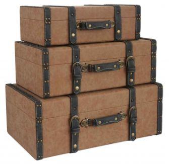 Conjunto de malas de Madeira com tecido Marrom e Preto.